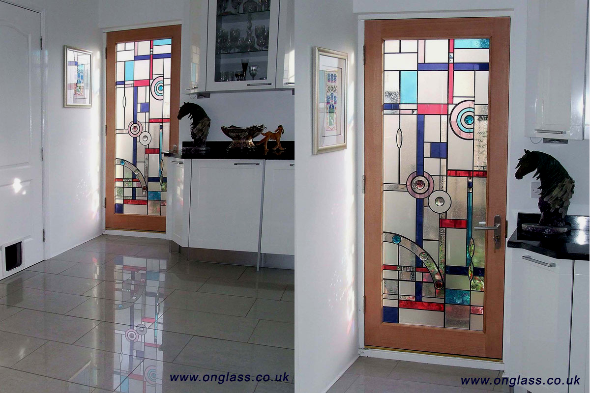 Art Deco Jewelled & Bevel glass full length door