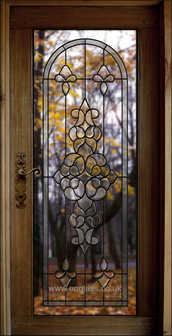Bevelled glass door