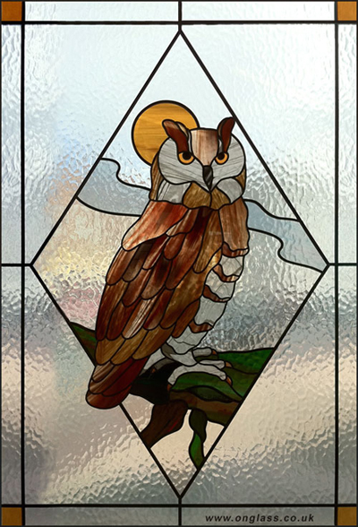 Eagle Owl stained glass door