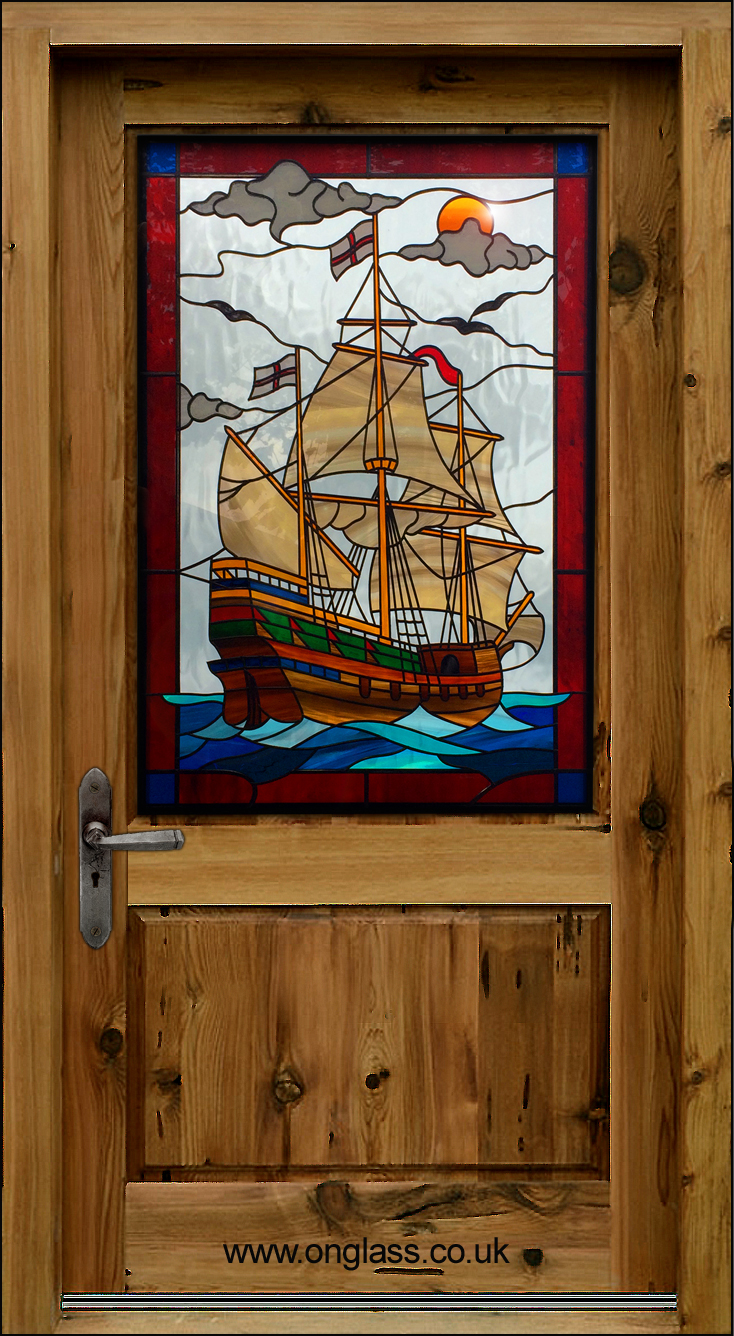 Galleon stained glass