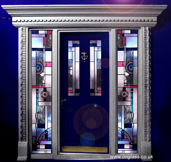 Art Deco Jewelled & Bevel glass door and side panels
