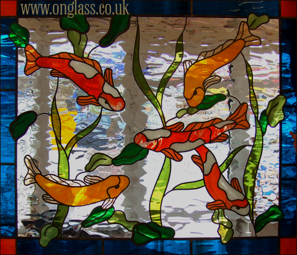 Koi Carp fish stained glass