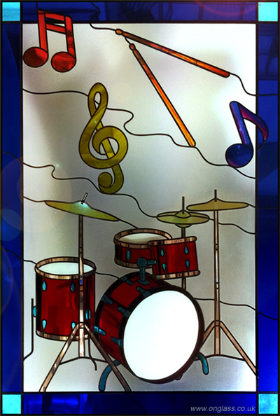Drum Workshop drum kit stained glass window