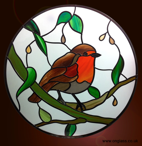 Robin stained glass round window