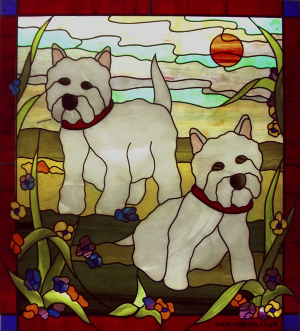 Westie dogs stained glass window